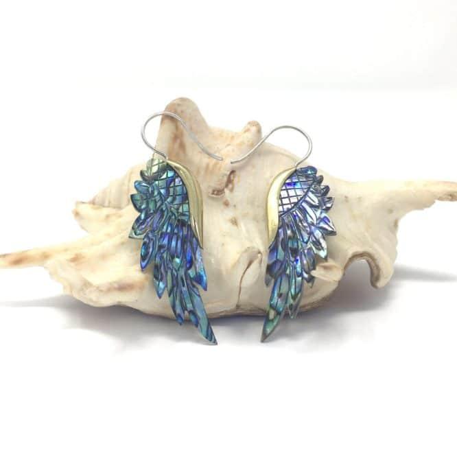 Boucles d'oreilles Ailes d'ange Nacre