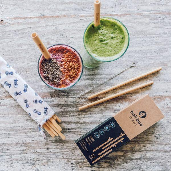 Paille réutilisable en bambou Kit et verres