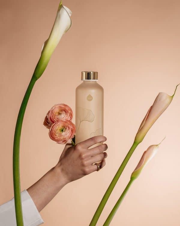 Ginko Bouteille en verre fleur 2