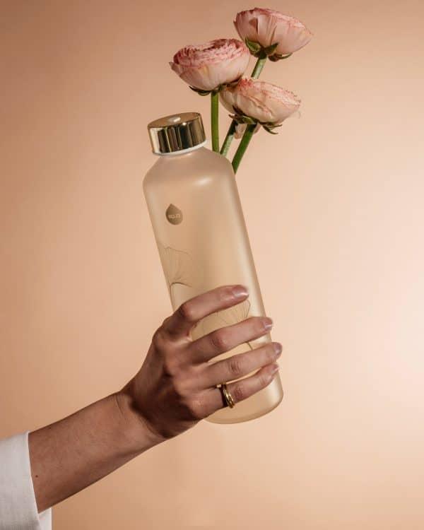 Ginko Bouteille en verre fleur