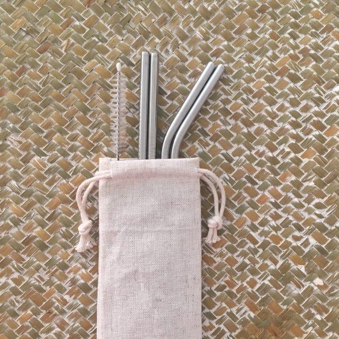 Set 4 pailles réutilisables Inox Argent