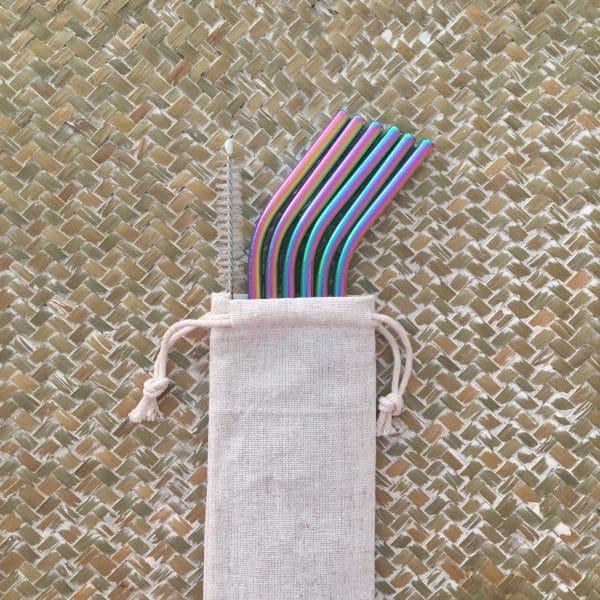 Set 6 pailles réutilisables Inox Arc-en-ciel courbées