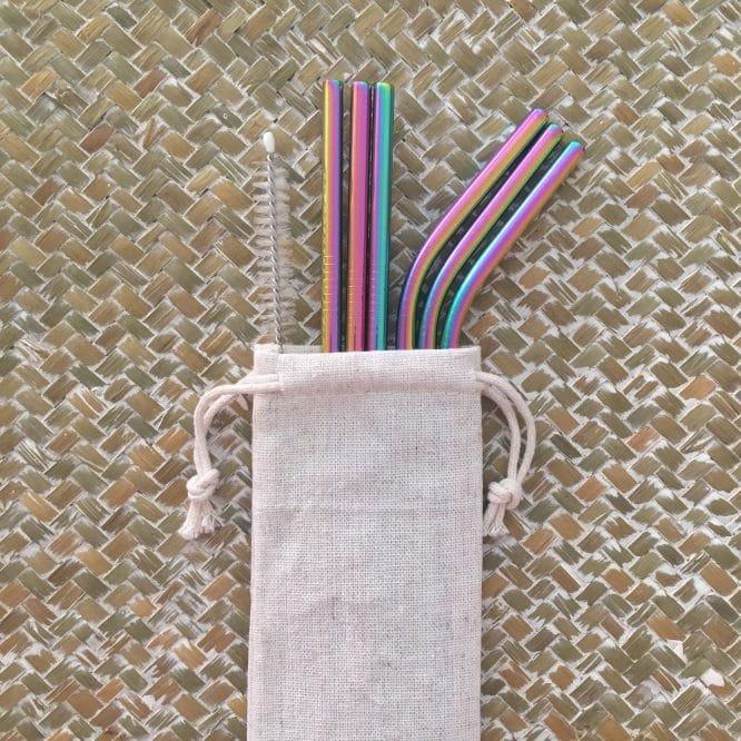 Set 6 pailles réutilisables Inox Arc-en-ciel