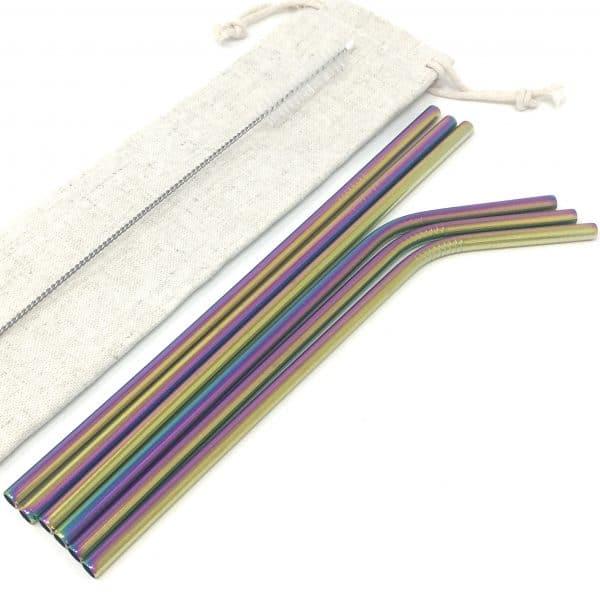 Kit 6 pailles inox arc-en-ciel droites et courbées
