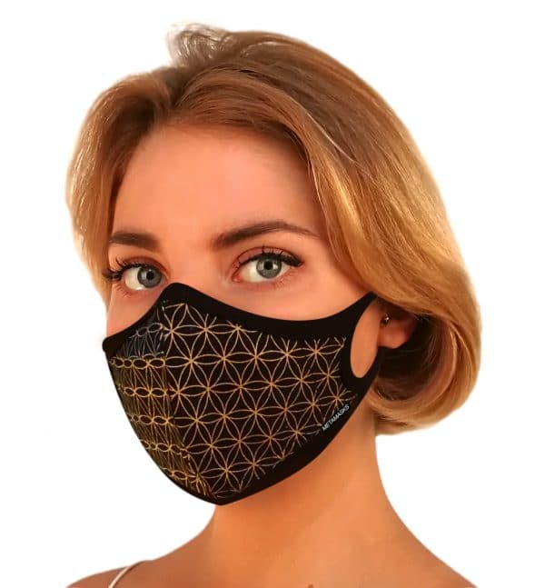 Masque anti-pollution réutilisable Flower of life Gold OK