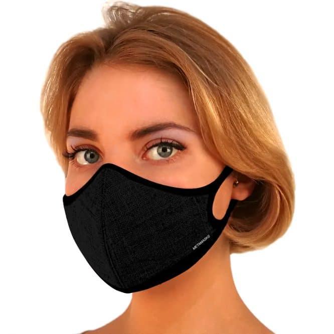 Masque anti-pollution réutilisable Lin Black OK