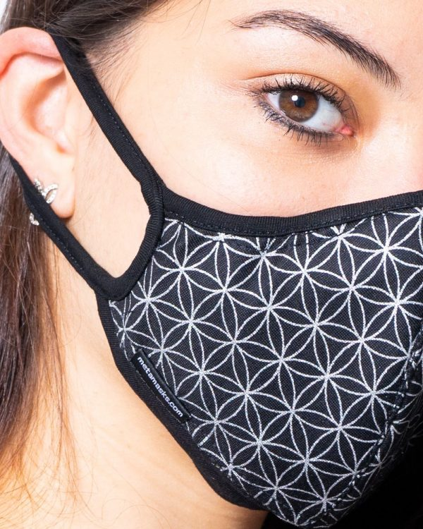 Masque anti-pollution réutilisable Flower of life silver détail