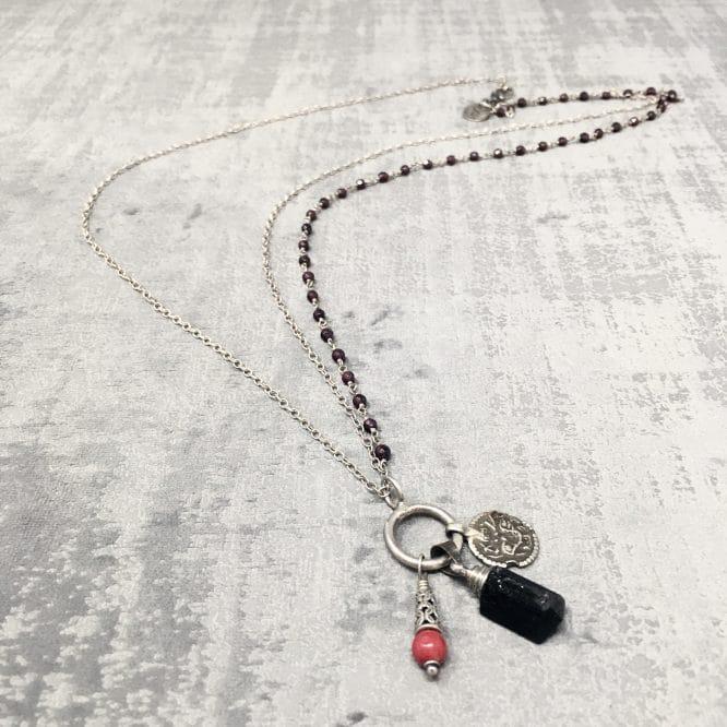 Collier amulettes tourmaline 70cm