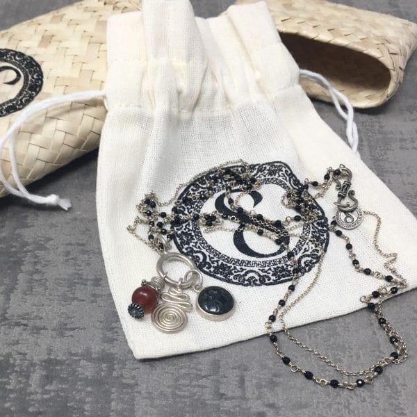 Collier amulettes Cornaline 55cm pack